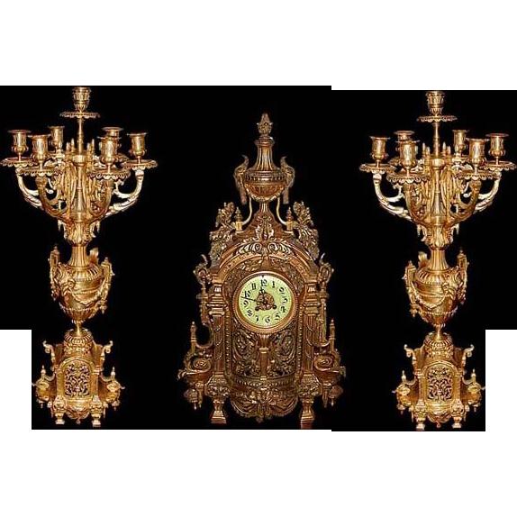 6127 3-Pc. 19th C. French Victorian Gilt Bronze Clock & Candelabra Set