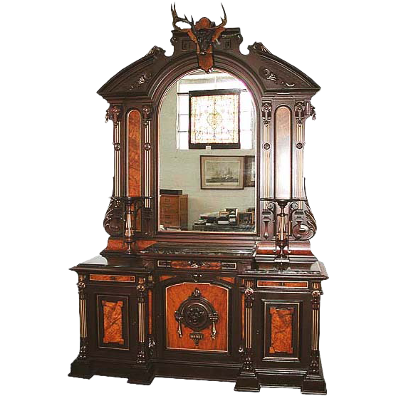 6130 Victorian Sideboard with Over Mirror and Deer Head, c 1875
