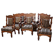 6139 Set of 8 Carved American Quartersawn Oak Armchairs