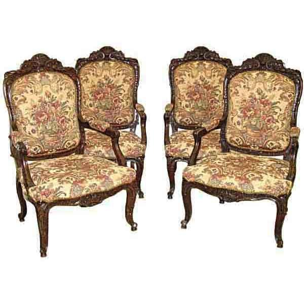 6140 Four Monumental Carved Walnut Armchairs w/Needlepoint Fabric