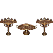 6147 3 Piece Bronze Candelabra Set with Center Bowl