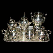 6148 American Eastlake 7 Pc Silver Plate Tea Set