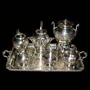 6148 American Eastlake 7 Pc Silver Plate Tea Set