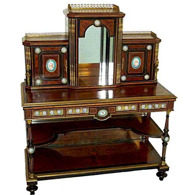 6149 Magnificent Early 19th C. Burled Walnut and Bronze Mounted 2-Pc. Writing Desk with 46 Sevres Plaques