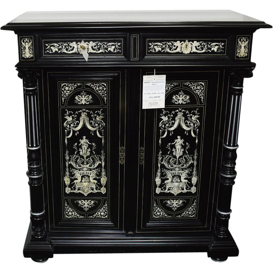 6187 Antique Cabinet,  Ebonized w Inlay, Attr. Herter Bros. c. 1875