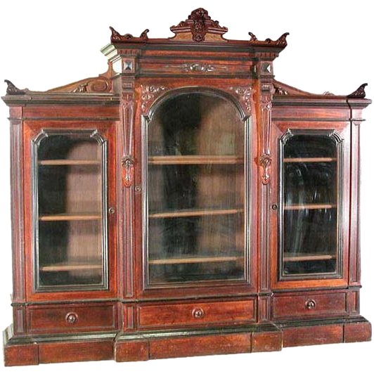 6195 Antique Carved Walnut Three-Sectional Victorian Bookcase