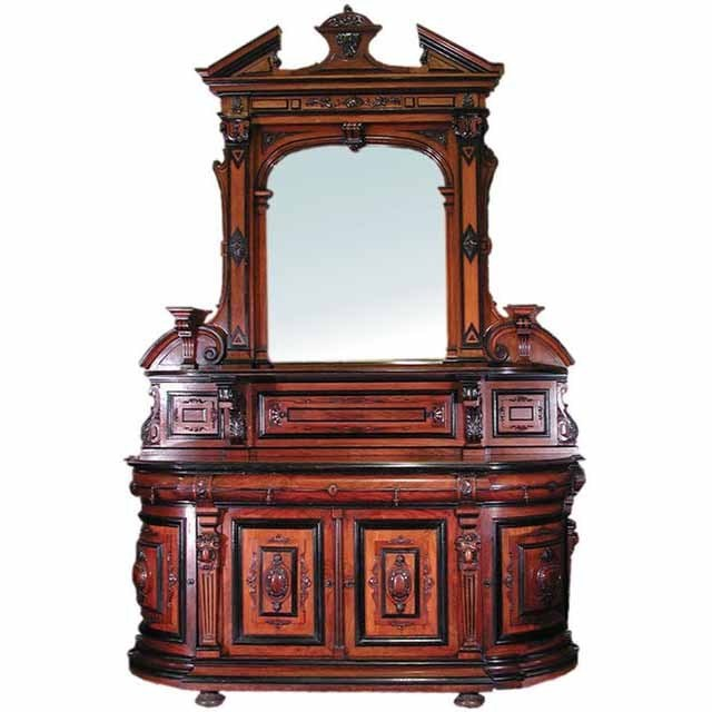 6196 Awesome American Renaissance Sideboard with Classic Walnut Carvings & Black Lacquer Detailing