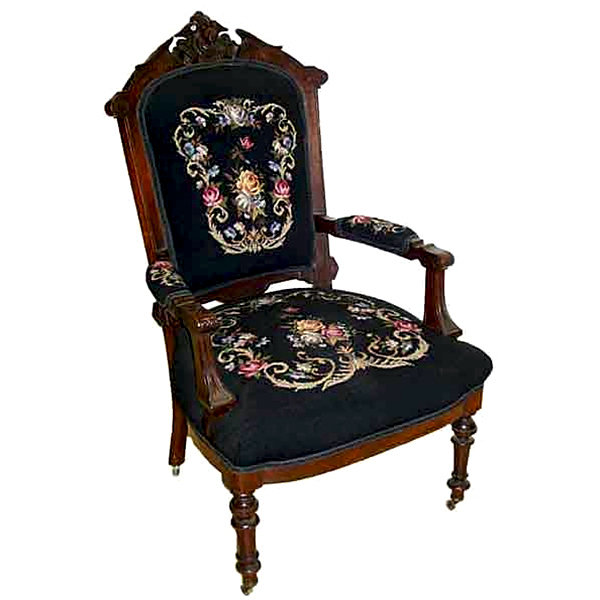 6223 19th C. American Renaissance Walnut Armchair with Lady Head Crest