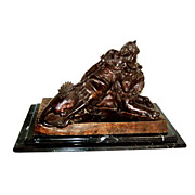 6224 19th C. Bronze of Lady Reclining on Lion Signed: Levasseur