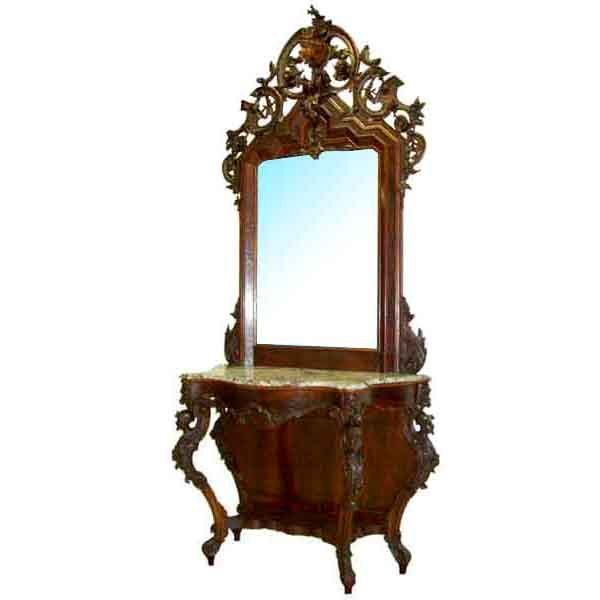 6225 Large Antique Victorian Mahogany Marble Top Pier Table & Mirror