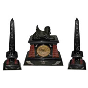 62.6258 Spectacular 3 Pc Egyptian Revival Clock Set