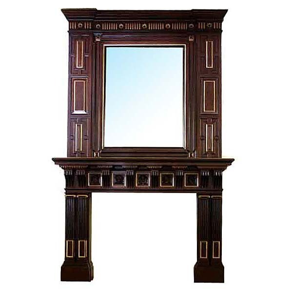 6259 19th C. Aesthetic Movement Mahogany Mantel & Over Mirror