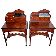 6261 Very Rare Pair of Art Nouveau Inlaid Fruitwood Bonheur du Jour by Emile Gallé c. 1900