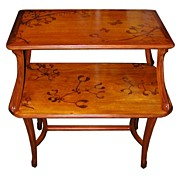 6263 Two-Tier Inlaid Art Nouveau Table Signed Majorelle.