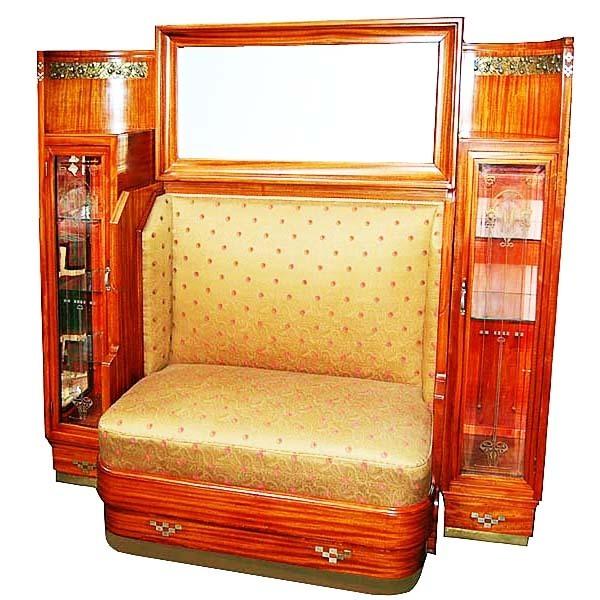 6266 Art Nouveau Bench & Curio Cabinet