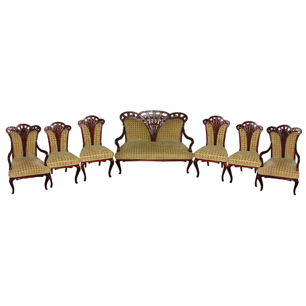 6267 Antique 7-Pc. Art Nouveau Parlor Set