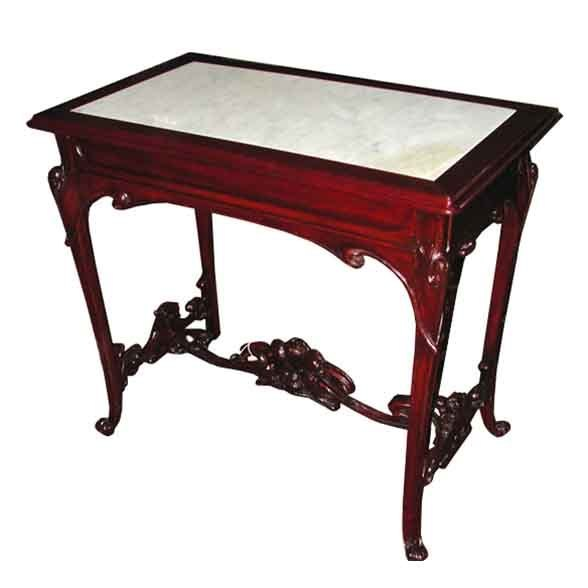 6268 Art Nouveau Table with Inset Marble Top