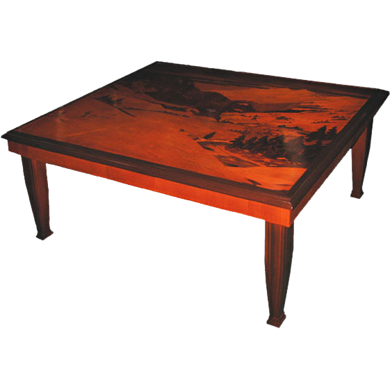 6274 Inlaid Art Nouveau Coffee Table with Mountain Scene