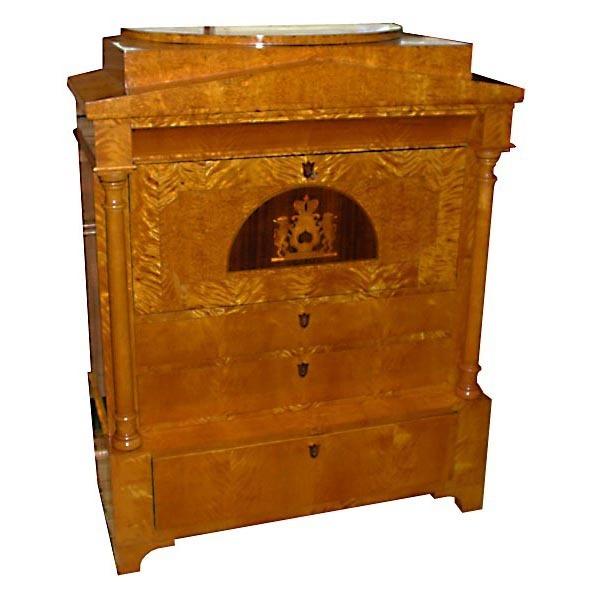 6276 Rare Biedermeier Style Antique Secretary Desk