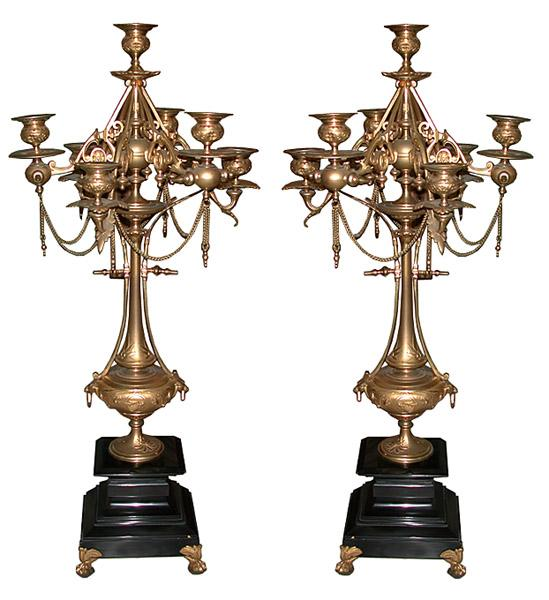 6280 Pair of Bronze Italian Empire Candelabra