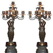 6282 Pair of Italian Bronze Figural Candelabras