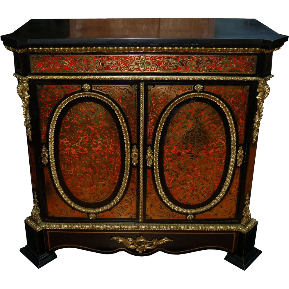 6284 2-Door Boulle Red Cabinet/Credenza with Marble Top
