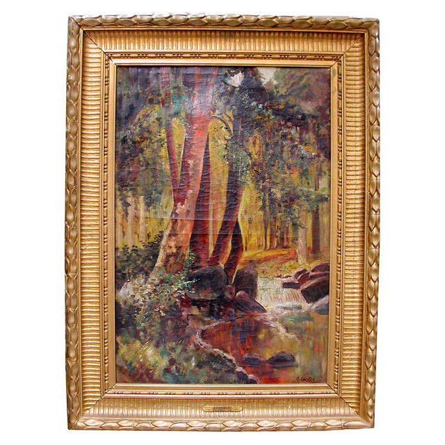 6288 19th C. Framed Oil On Canvas Landscape Waterfalls Signed J. Candis