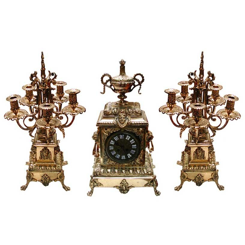 63.6296 19th C. Cast Bronze 3-Pc  Clock Set w/Lions.