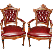 6301 Pair of Large 19th C. American Renaissance Burled Walnut Armchairs