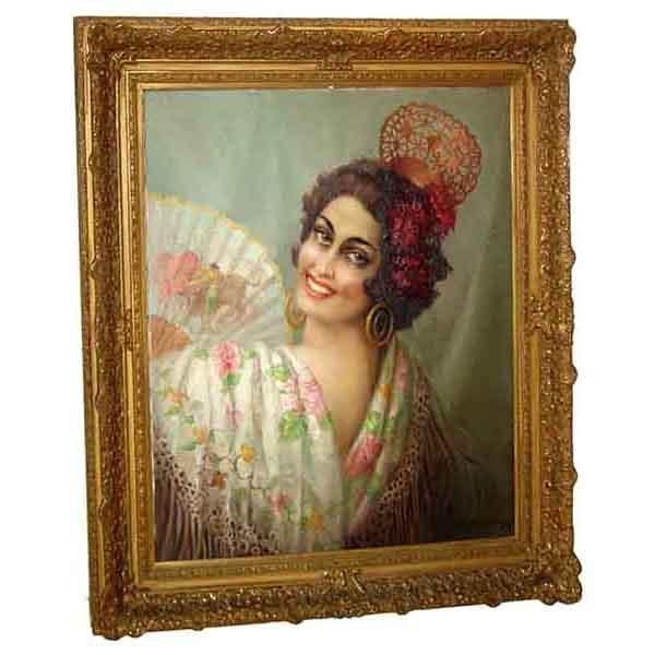6302 19th C. Oil on Canvas Spanish Dancer w/Fan Signed E. Apesregia