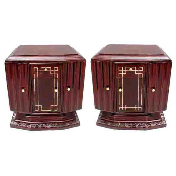 6318 Fabulous Pair of Vintage Art Deco Nightstands