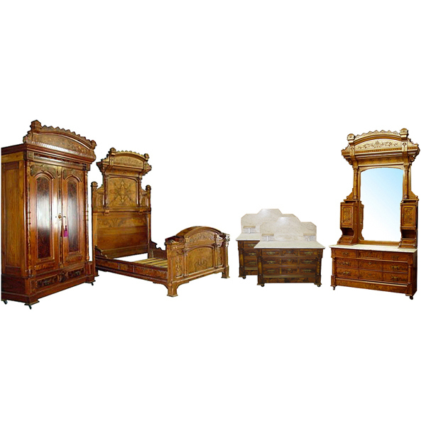6324 5 Pc Aesthetic Movement Bedroom Suite c. 1880
