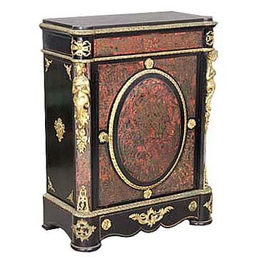 6330 Antique Red Boulle Empire Style Cabinet with Bronze Ladies & Trim