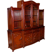 6337 Beautifully Carved Walnut Art Nouveau Breakfront Sideboard c. 1890
