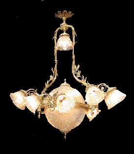 634 12-light Solid Bronze 19th C. Chandelier
