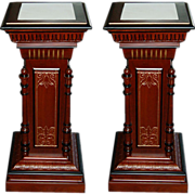 6350 Pair of Antique American Renaissance Revival Walnut and Burl Gilt Incised Pedestals