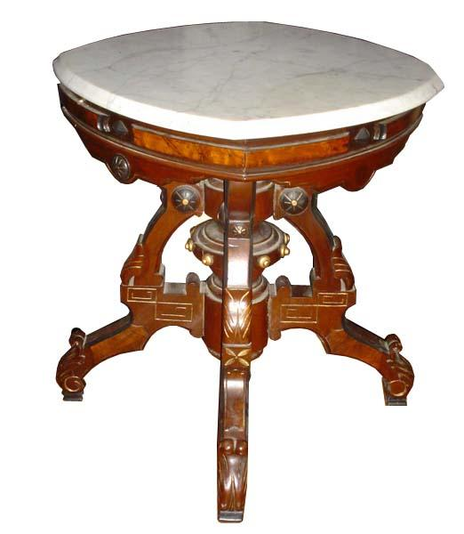 6355 Unusual Marble Top Victorian Burled Center Table