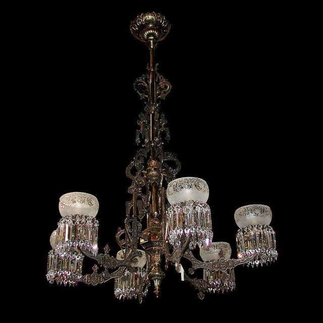 6356 Hanging Oil Bronze & Iron Chandelier w/Intricate Detailing