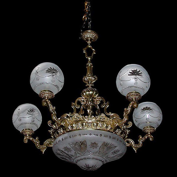 6362 19th C. Bronze Antique Chandelier