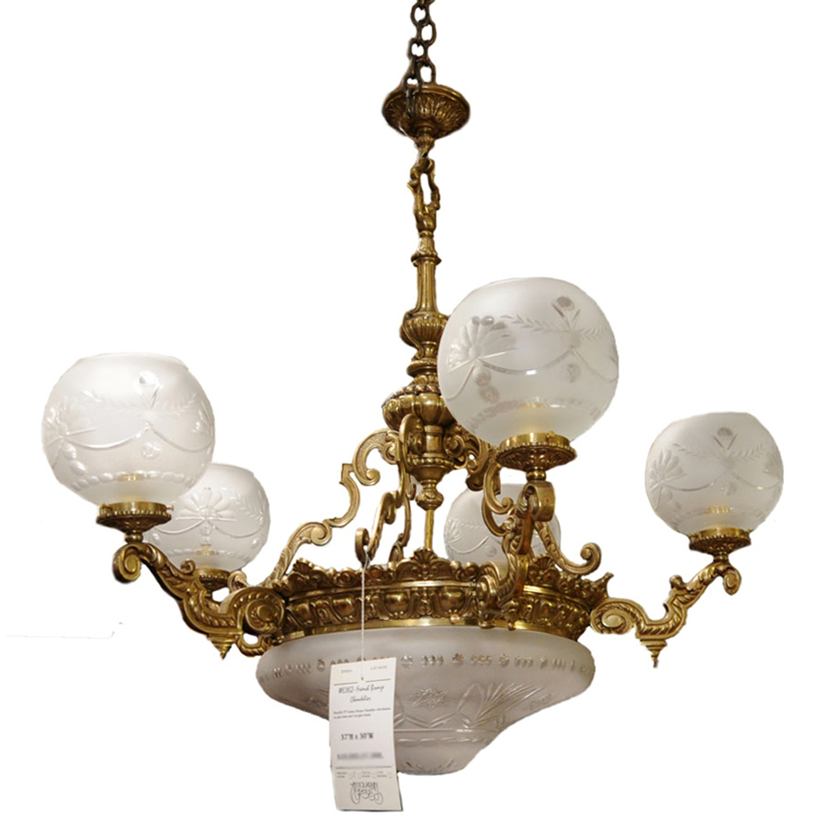 Roll over Large image to magnify, click Large image to zoom - 6362 19th C. Bronze Antique Chandelier From Antiquariantraders On