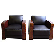 6404 Pair of Art Deco Chairs in Black Leather c. 1920