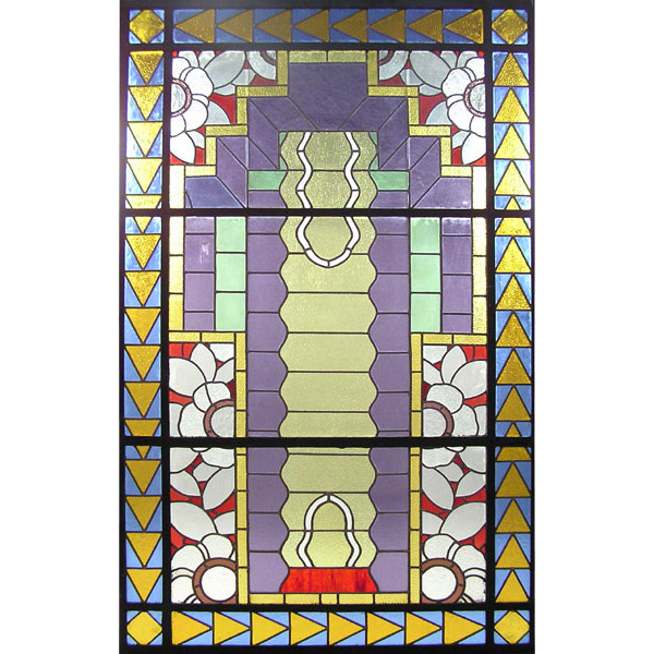 74.6406 Art Deco Stained Glass with Brilliant Colors and Design