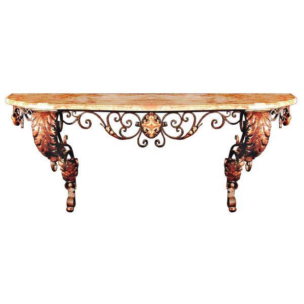 6413 Large French Wrought Iron Console Table