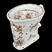 6414 Rare Decorated Toilet Bowl c. 1900