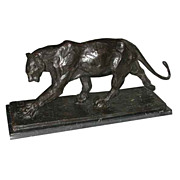 "6418 Antique Bronze Art Deco ""Walking Panther"" on Marble Base"