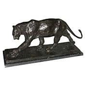 "6418 Antique Bronze Art Deco ""Walking Panther"" on Marble Base"