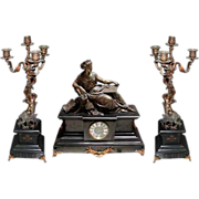 6431 3-Piece Marble & Bronze Figural Mantel Clock Set