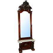 6450 Magnificent Victorian Carved Walnut Marble Top Pier Mirror w/Pierce Carved Crest.