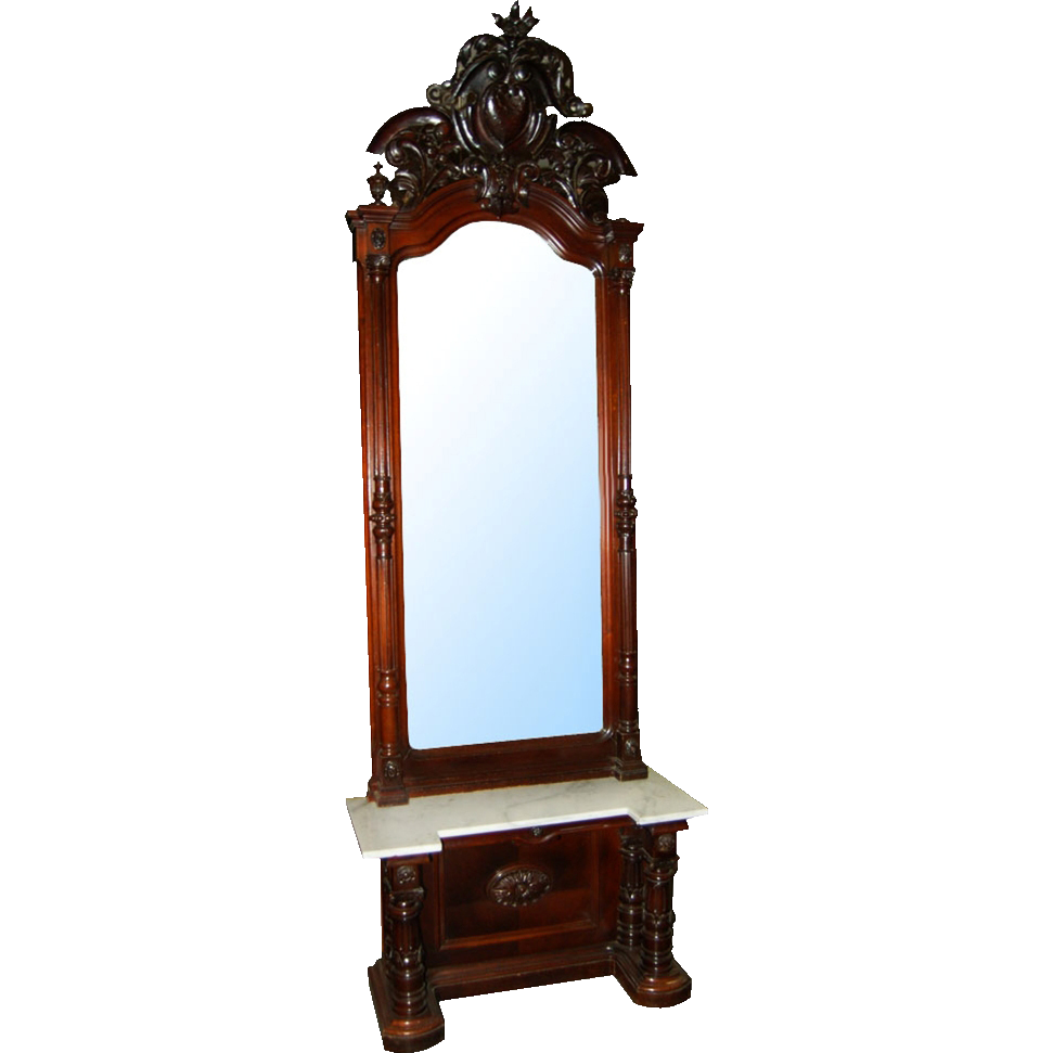6450 Magnificent Victorian Carved Walnut Marble Top Pier Mirror w/Pierce Carved Crest.