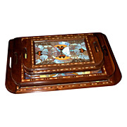6453 Set of 5 Art Deco Walnut Descending Trays with Decorated Inlaid Butterflies
